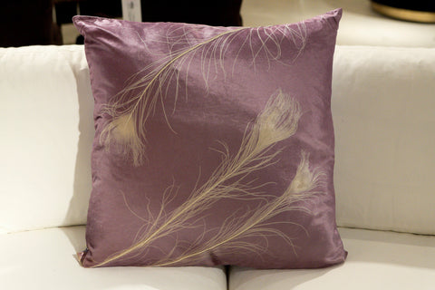 Peacock On Violet Pillow - Aviva Stanoff Design