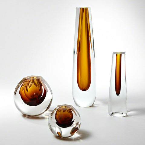 Pentagon Cut Glass Vase - Global Views