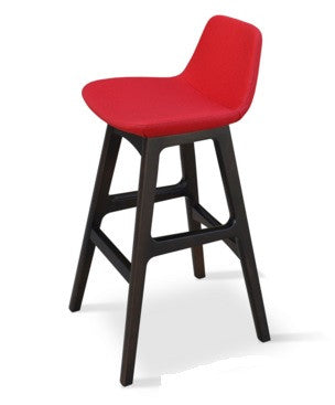 Pera Wood Bar Stool with Red Leatherette - Soho Concept