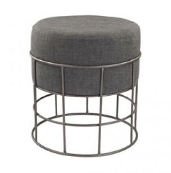 Pewter and Grey Linen Stool - Dimond Home