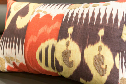 Printed Ikat Beaded Pillow - Callisto Home