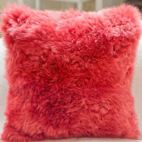 Long Wool Pillow-Rasberry - Auskin