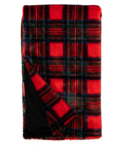 Red Plaid Throw - Fabulous Furs