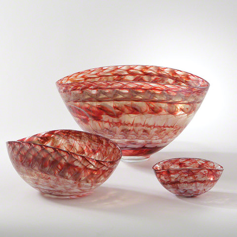 Red Swirl Oval Bowl, Large - Global Views