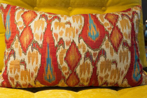 Red and Gold Beaded Brocade Pillow - Callisto Home