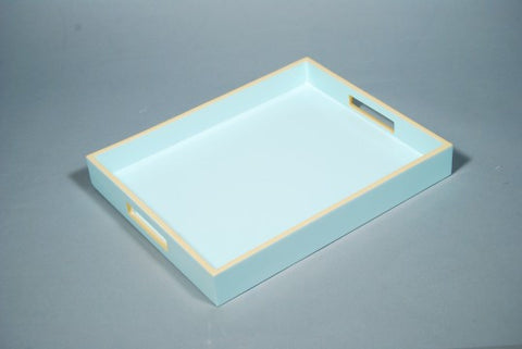 Reiko Tray Duck Egg With Beige Trim - Pacific Connections
