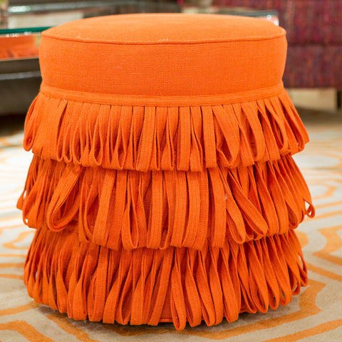 Rita Round Pouf, Orange - V Rugs & Home