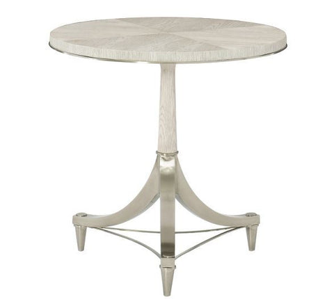 Domaine Blanc Round Pedestal Chairside Table - Bernhardt Furniture