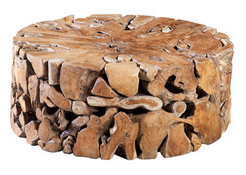 Round Teak Slice Table - Phillips Collection