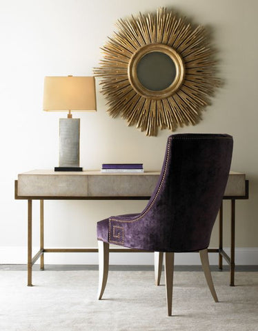 Simone Taupe Shagreen Desk - Lillian August