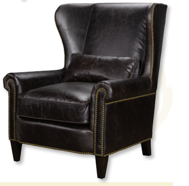 Saunders Leather Wing Chair - Luxe Home