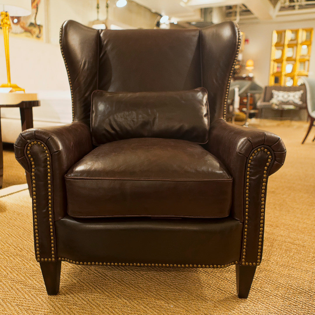 saunders leather wing chair luxe home