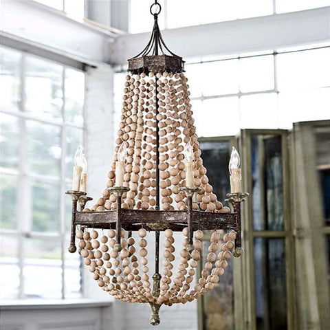 Scalloped Wood Bead Chandelier - Regina-Andrew Design
