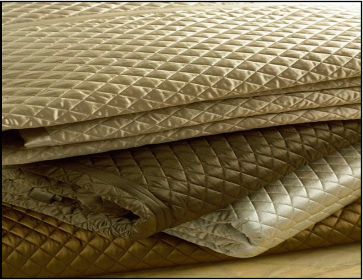 Charming Ivory Charmeuse Queen Quilted Coverlet   Ann Gish