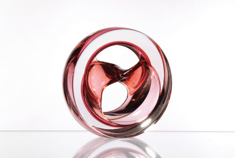Twist Glass Sculpture, Coral - Teign Valley Glass