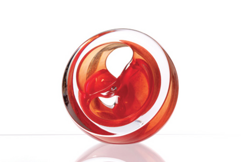 Twist Glass Sculpture, Cherry Red - Teign Valley Glass