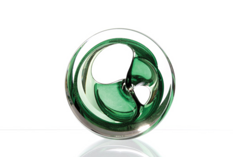 Twist Glass Sculpture, Emerald - Teign Valley Glass