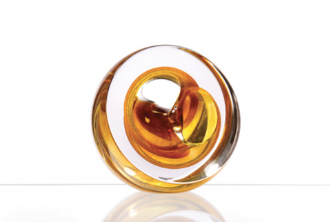 Twist Glass Sculpture, Gold - Teign Valley Glass