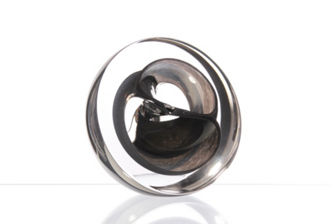 Twist Glass Sculpture, Black - Teign Valley Glass