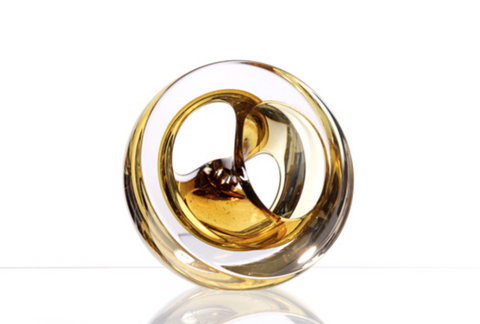 Twist Glass Sculpture, Amber - Teign Valley Glass