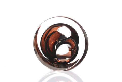 Twist Glass Sculpture, Brown - Teign Valley Glass