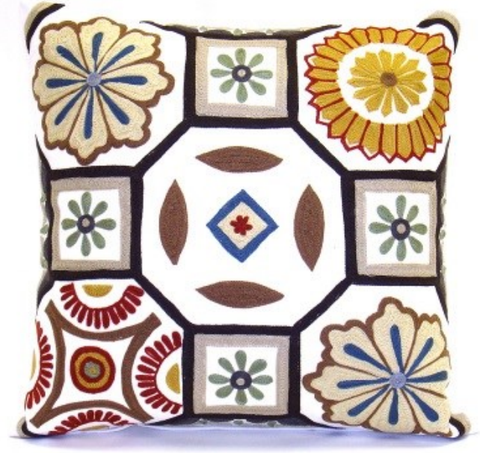 Whimsy Floral Mosaic Pillow - Sabira Collection