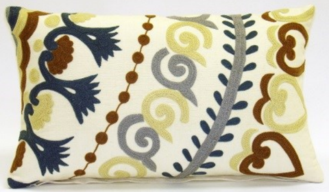 Whimsy Suzani Floral Pillow - Sabira Collection