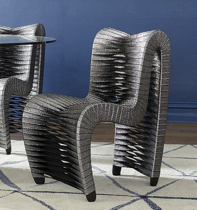 Seat Belt Dining Chair, Silver/Black - Phillips Collection
