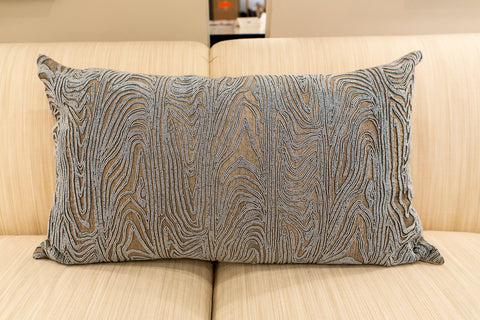 Silver Brocade and Silver Beads Pillow - Callisto Home