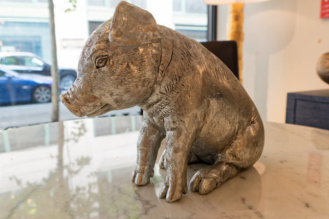 Sitting Piglet, Silver Leaf - Phillips Collection