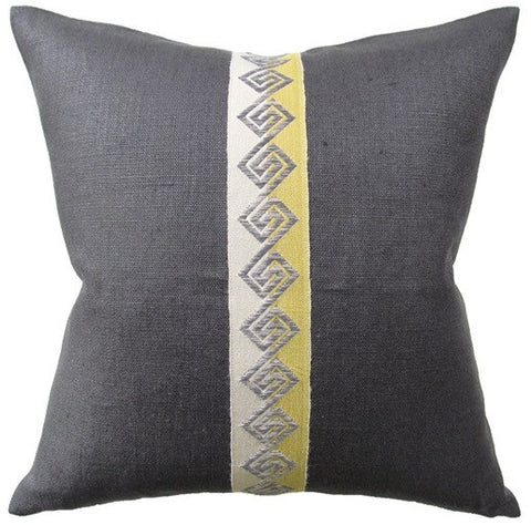 Slubby Linen Sienna Tape Pillow 22x22 - Ryan Studio