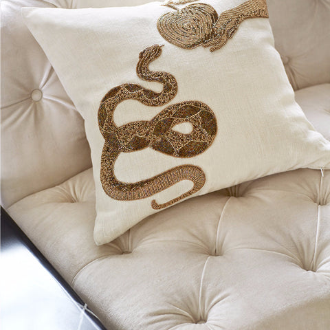 Muse Snake & Apple Pillow 20x20 - Jonathan Adler