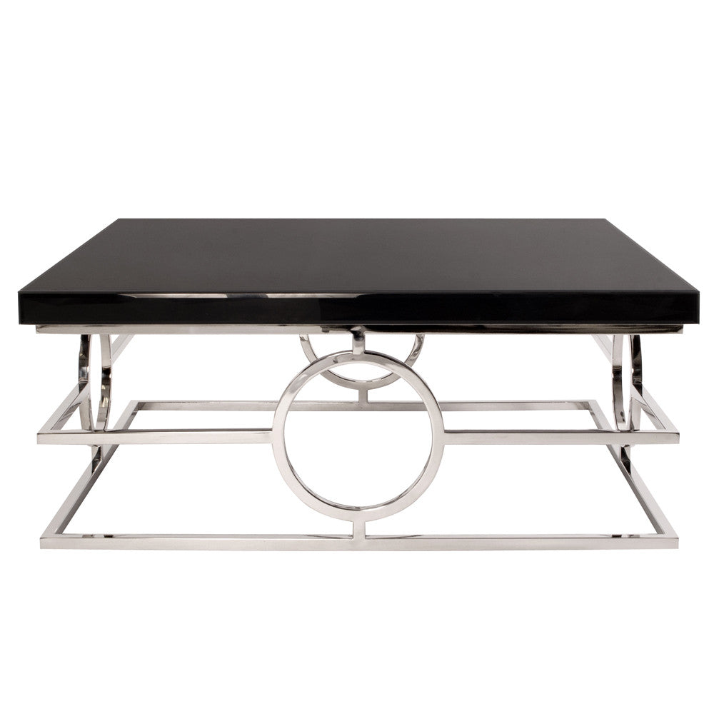 Stainless steel coffee table with black mirror top howard stainless steel coffee table with black mirror top howard elliott geotapseo Image collections