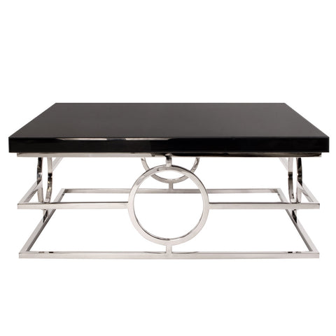 Stainless Steel Coffee Table With Black Mirror Top - Howard Elliott