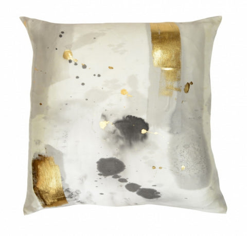 Stardust in Charcoal with Gold Detail Pillow - Aviva Stanoff Design Inc.