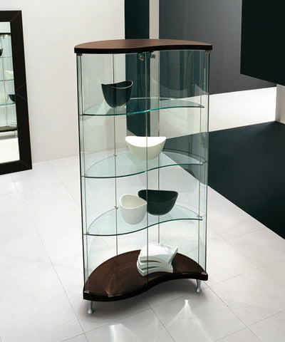 Oregina Glass Cabinet, Canaletto Walnut - Tonin Casa