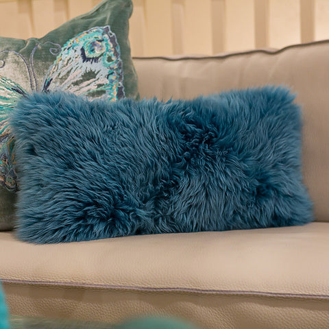 Long Wool Teal Pillow 11