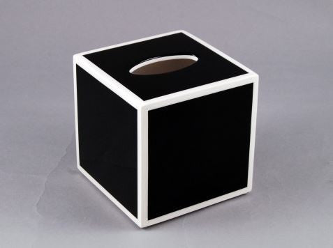 Cube Tissue Cover Black with White Trim - Pacific Connections