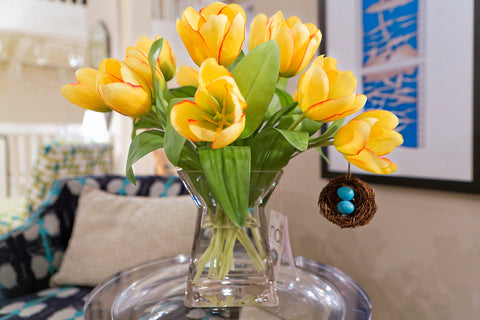Natural decorations inc reproduction flowers luxe home philadelphia tulip yellow grass square tower ndi mightylinksfo