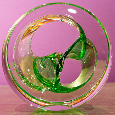 Twist Glass Sculpture, Green - Teign Valley Glass