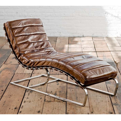Vintage Brown Leather Chaise - Regina-Andrew Design