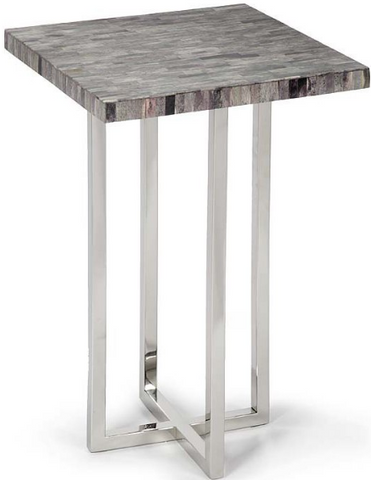 Vintage Grey Mosaic Bone Top Transitional Table - Regina Andrew
