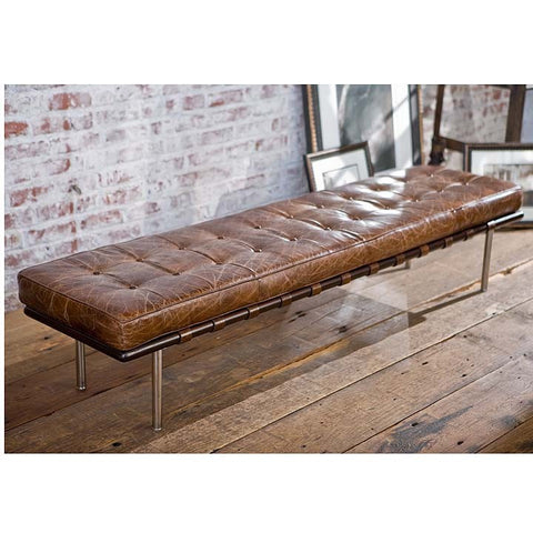 Vintage Leather Tufted Bench - Regina-Andrew Design