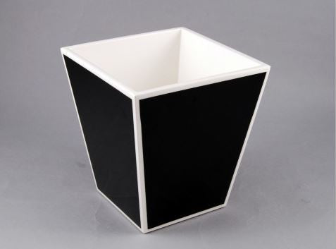 Waste Basket Black with White Trim - Pacific Connections