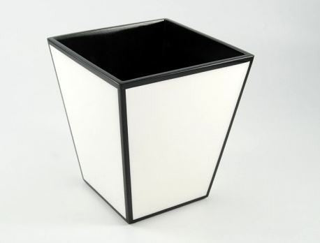Waste Basket White with Black Trim - Pacific Connections