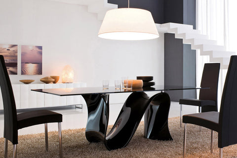 Wave Fixed Oval Dining Table With Black Base- Tonin Casa