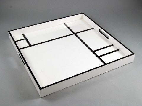 White With Black Grid Square Tray - Pacific Connections