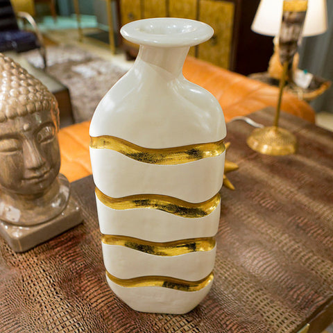White And Gold Layered Vase - Phillips Collection