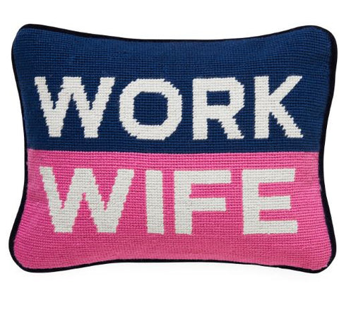 Work Wife Needlepoint Pillow - Jonathan Adler