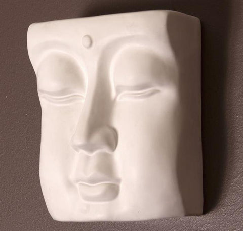 Abstract Buddha Face in Eggshell White Wall Vase - Howard Elliott